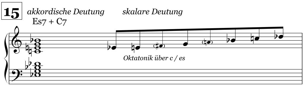 Sacre-Akkord, zweite Version bei Ziffer 15, Halbton-Ganzton-Skala