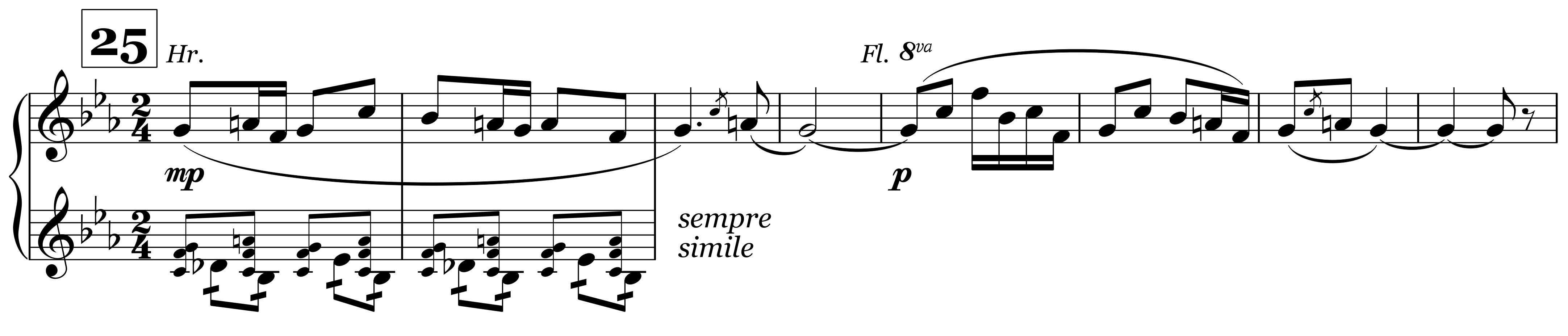 Sacre, Fünftonmelodie Horn/Flöte Ziffer 25